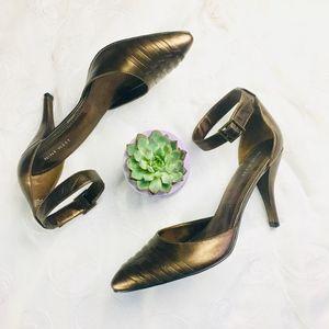 Nine West Bronze Leather Ankle Strap Heels 8.5